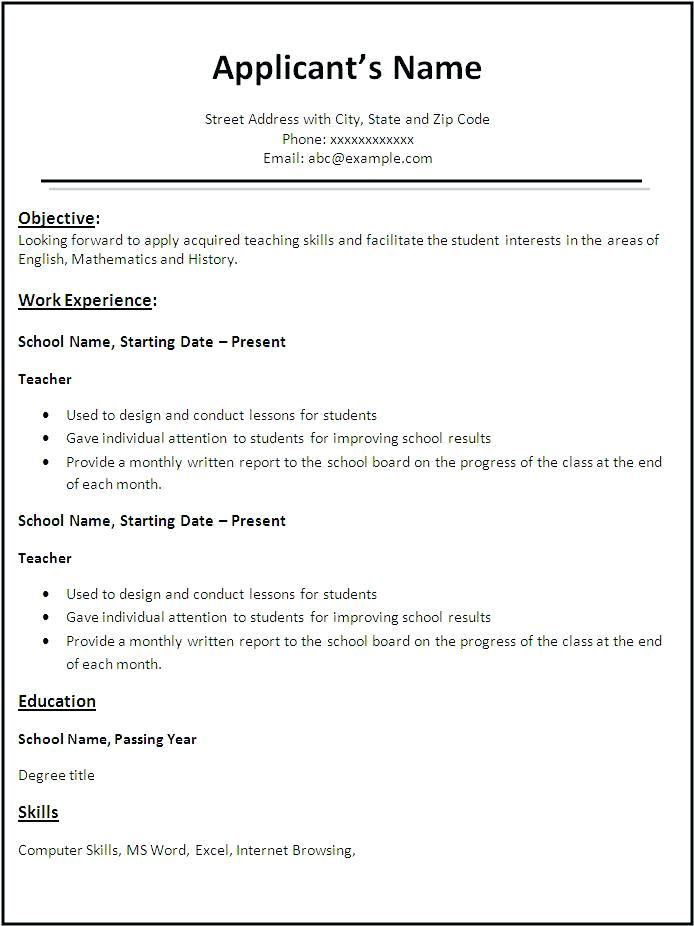 free resume templates in english