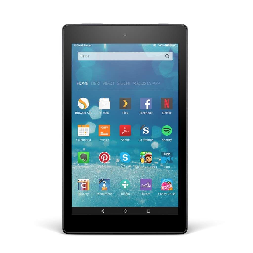 Amazon Fire HD 8, tablet potente ma economico Amazon lancia Fire HD 8 un nuovo modello di tablet che spicca per lo schermo da 8 pollici HD e uno spazio di archiviazione di 16 o 32 GB. E il prezzo è sempre aggressivo.  Dopo il Fire e il Fire HD 6, l'azienda americana ci riprova proponendo un nuovo modello con caratteristiche tecniche che stanno più al passo con i tempi. Fire HD 8, da come si evince dal nome, offre un display touch panoramico da 8 pollici con risoluzione che arriva a 1280×800