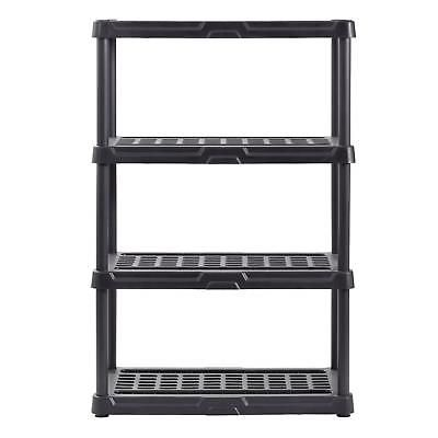 4 Tier Rack Plastic Shelving Storage Organizer Freestanding Shelf