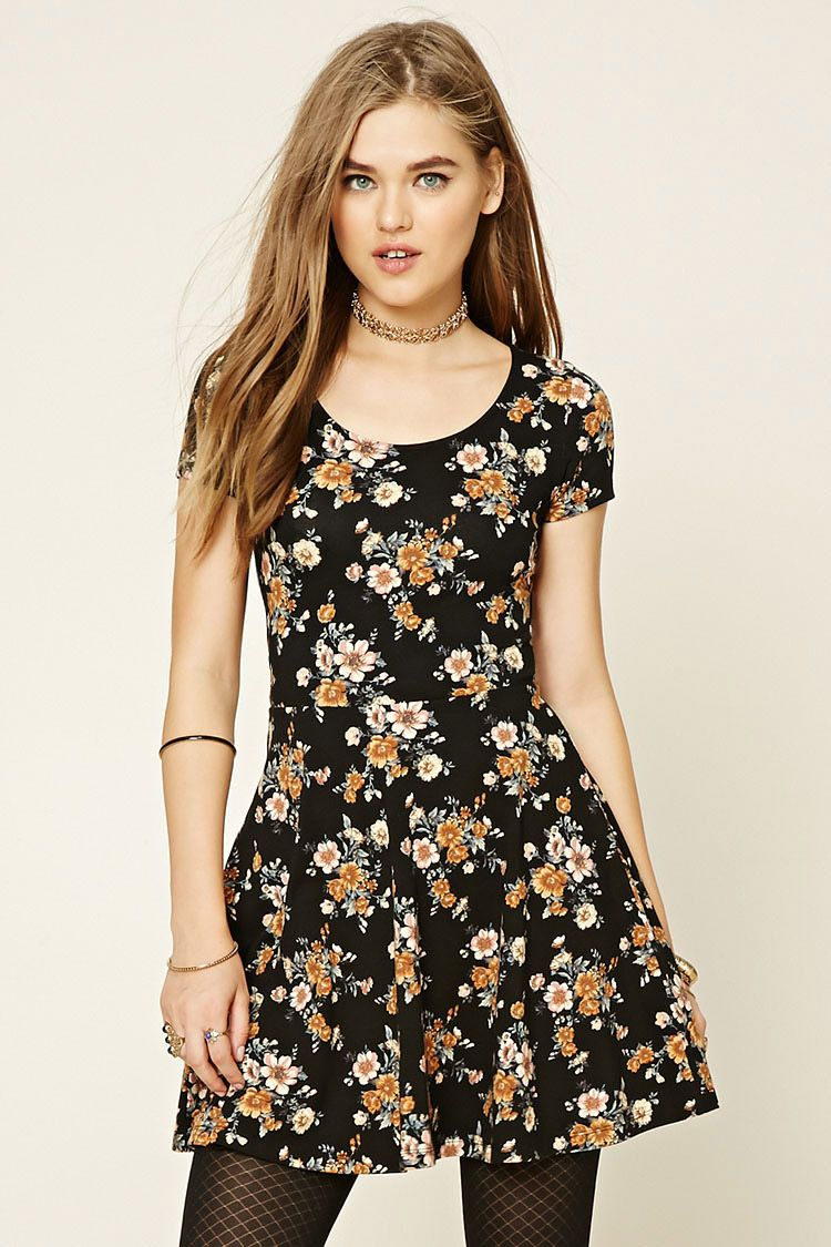 Style Deals - A knit skater dress featuring an allover floral print ... 2ae4d3cf5