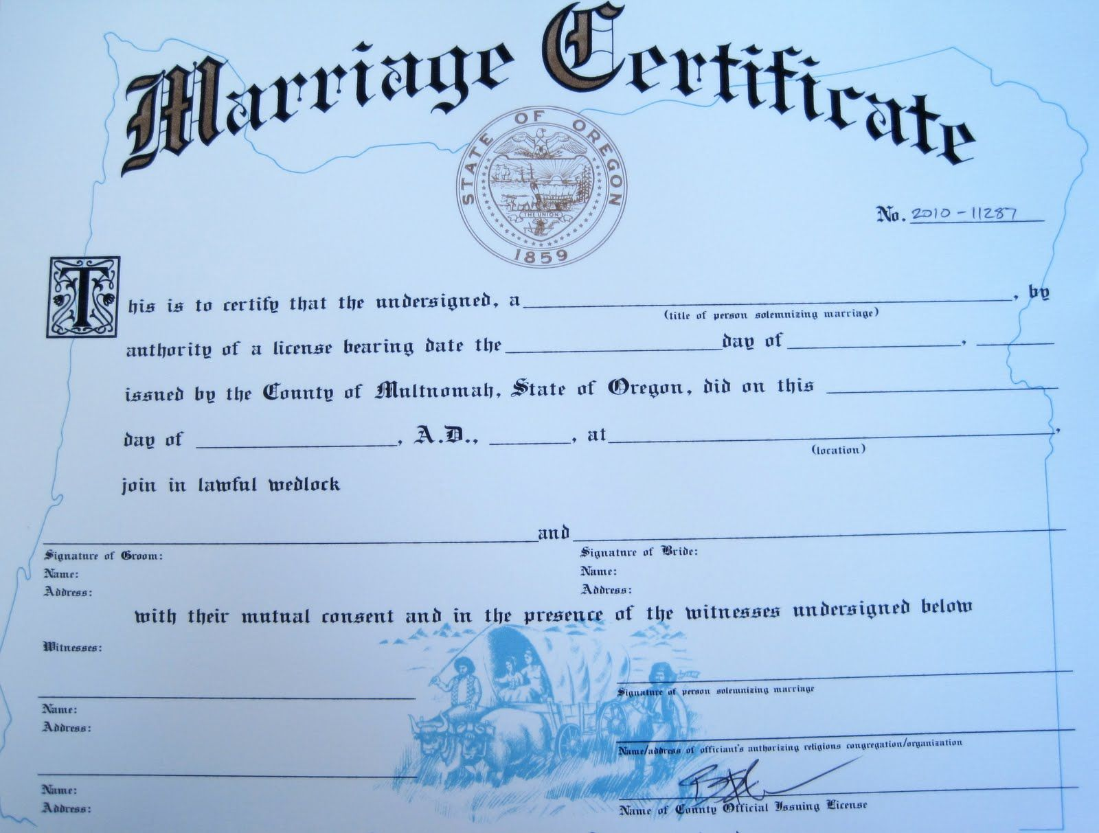 oregon certificate fancy marriage certificates