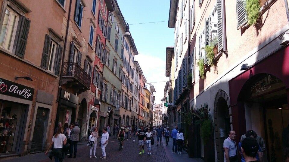 Shopping street of Bergamo,  Italy - summer 2015