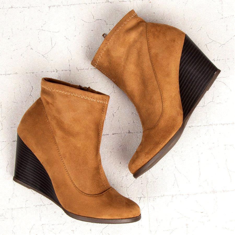 Corina Zamszowe Botki Na Koturnie Brazowe Ankle Boot Shoes Wedge Boot