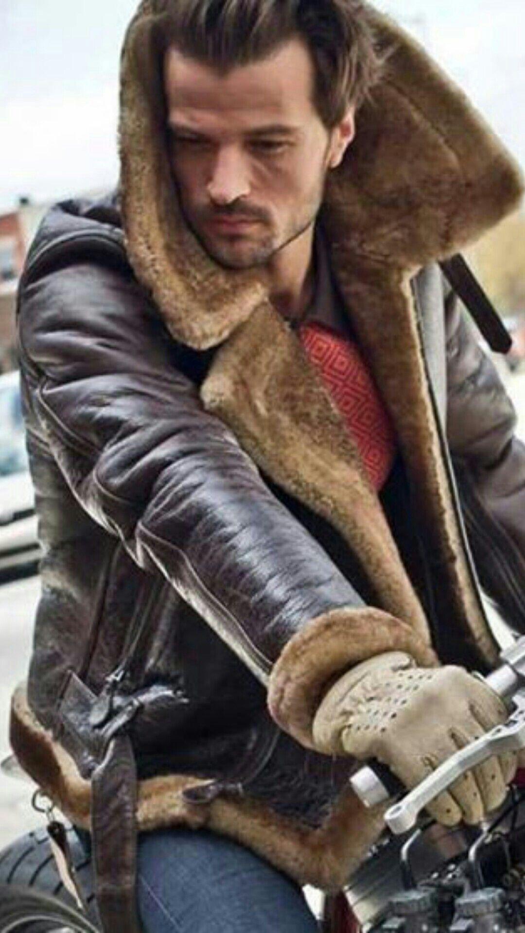 Winter Biking Leather Jacket