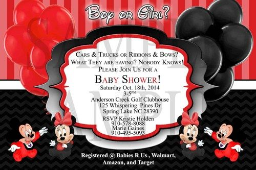 Mickey And Minnie Twin Baby Shower Invitations Templates Minnie