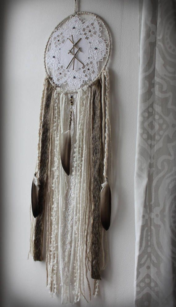 For Magical Dreams And A Pagan Home Decor... This Dreamcatcher Is Adorned  With A Refined Vintage Doily Embroidered With Swarovski Crystals And The  Bounded ...