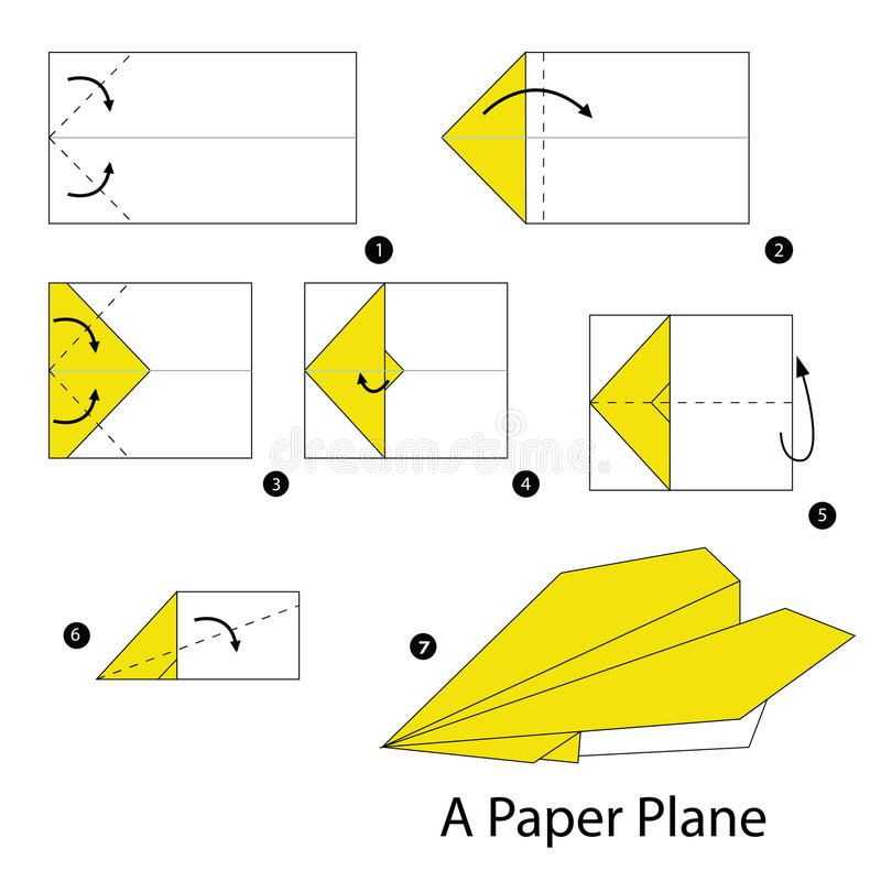 Photo of Step By Step Instructions How To Make Origami A Plane Stock Vector – Illustration of object, game: 67186033