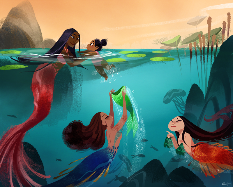 """kinopia:  """"When I was a kid, I believed you would become a mermaid when you went in the water to swim"""". I really loved the little mermaid as a kid growing up so I had the warped perception you became a mermaid when you entered the water ahaha. This is me learning to swim with my cousin! This piece is for a gallery show at work."""