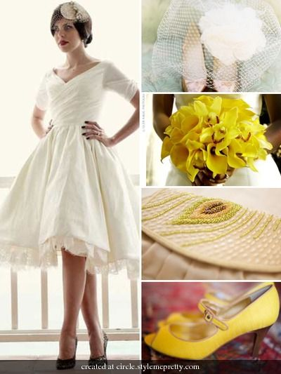 A Short Wedding Gown A Yellow Bridal Bouquet And Yellow Shoes