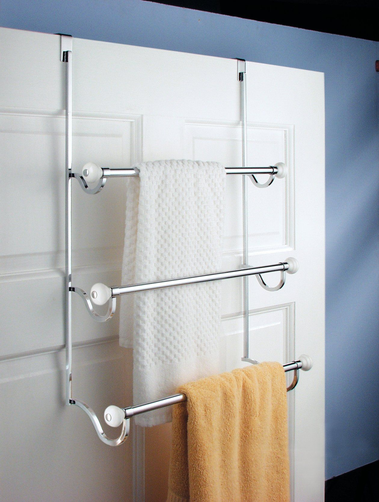Interdesign York Over The Shower Door 3 Bar Towel Rack White And Chrome
