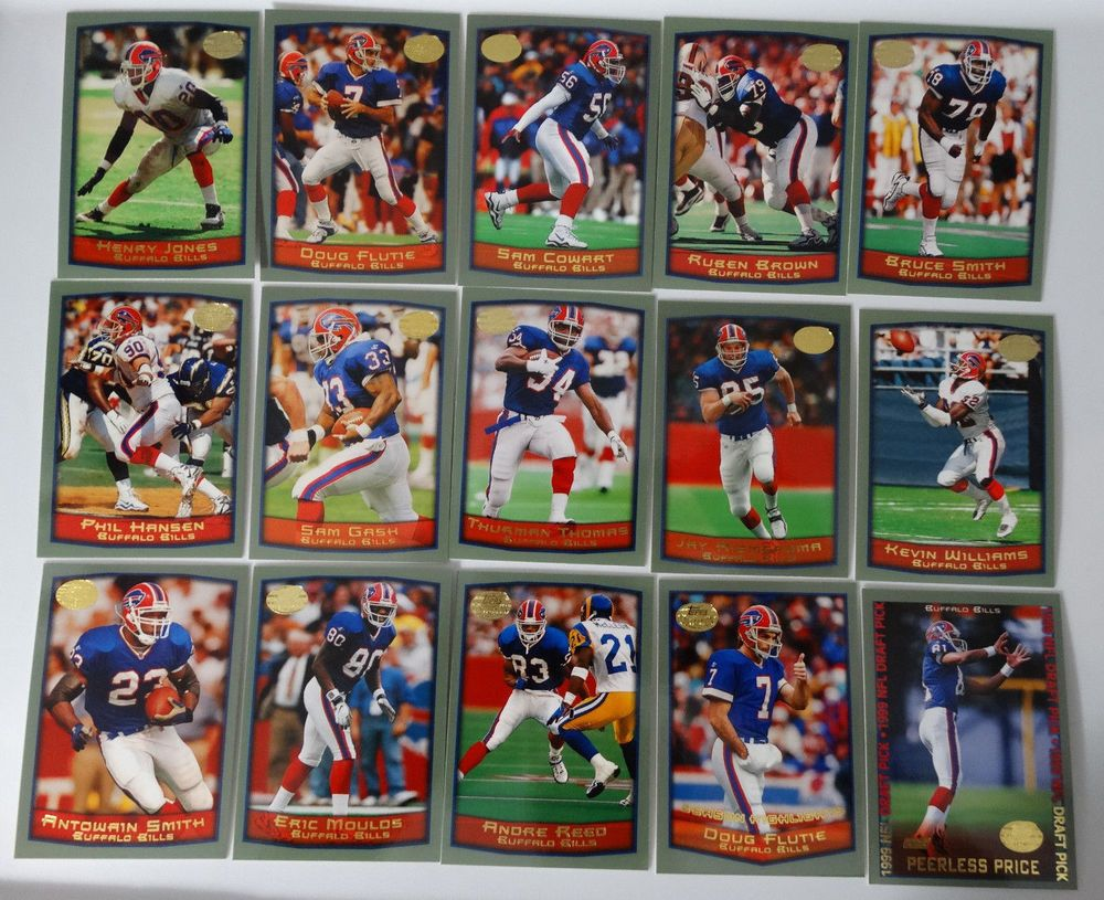 1999 topps buffalo bills team set of 15 football cards