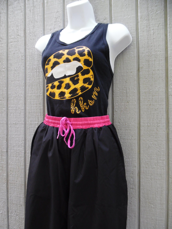 4d9ce0f26e8905 80s 90s Vintage Windbreaker Pants High Waist 1990s Hip Hop Black & Pink Jogging  Pants Unisex Size Medium by Junction West