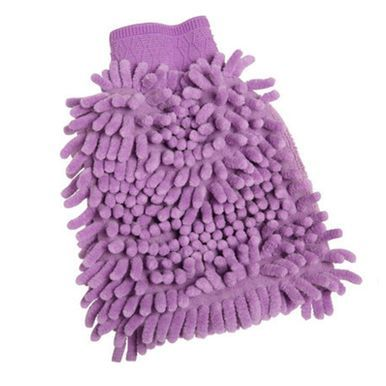 2PCS Chenille Household Dustproof Hand Duster Cleaner Gloves for Cleaning Purple