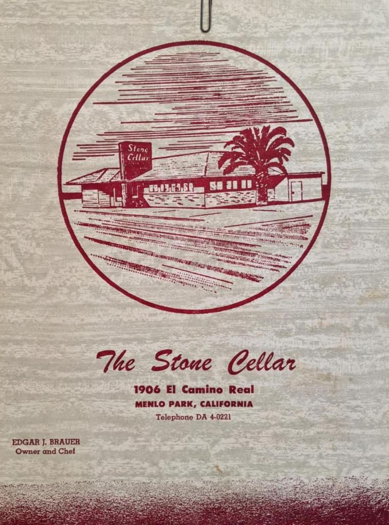 1957 The Stone Cellar Restaurant Menlo Park California Vintage Menu Vintage Menu Menlo Park Menlo Park California