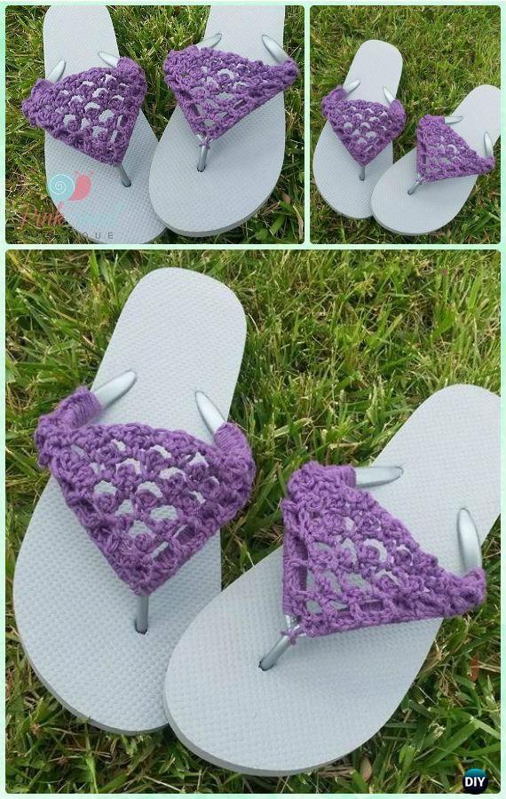 7ff9e88fee191 Crochet Peekaboo Picot Flip Flops Free Pattern - Crochet Flip Flop Footwear  Makeover Free Patterns