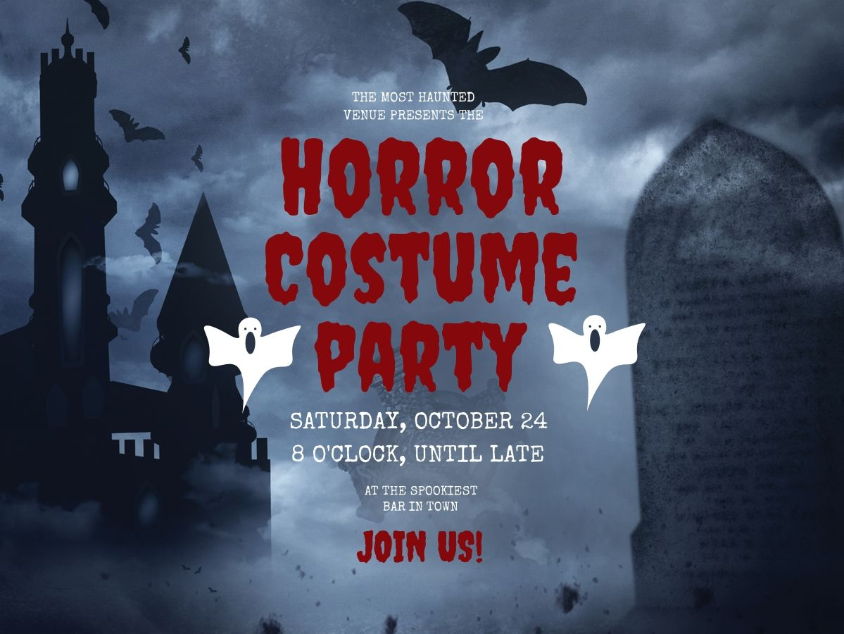 Halloween horror costume party invite template, personalizable and ...