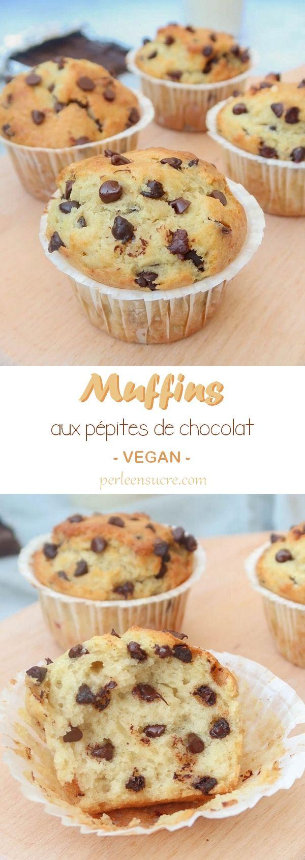 Muffins aux pépites de chocolat sans oeufs, sans lait {vegan