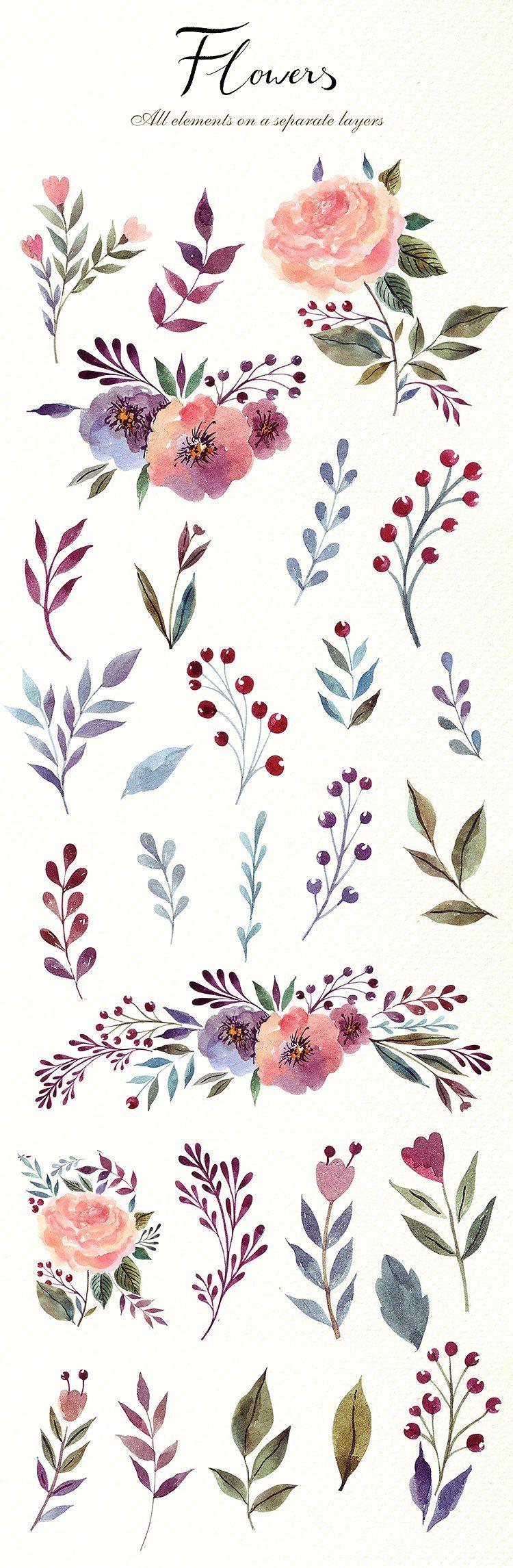 Photo of 230 watercolor graphic elements from MoleskoStudio on Creative Market