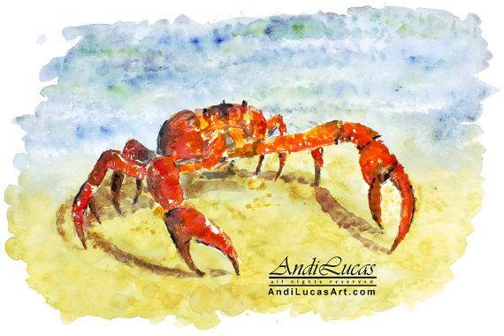 Cancer Crab Zodiac Watercolor Print Wall Art 12 x by andilucasart ...