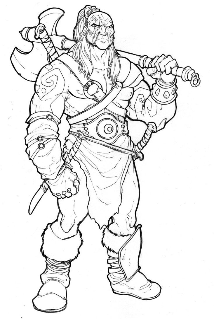 Barbarian By Baldeon Cartoon Coloring Pages Dungeons And Dragons Characters Funny Easy Drawings