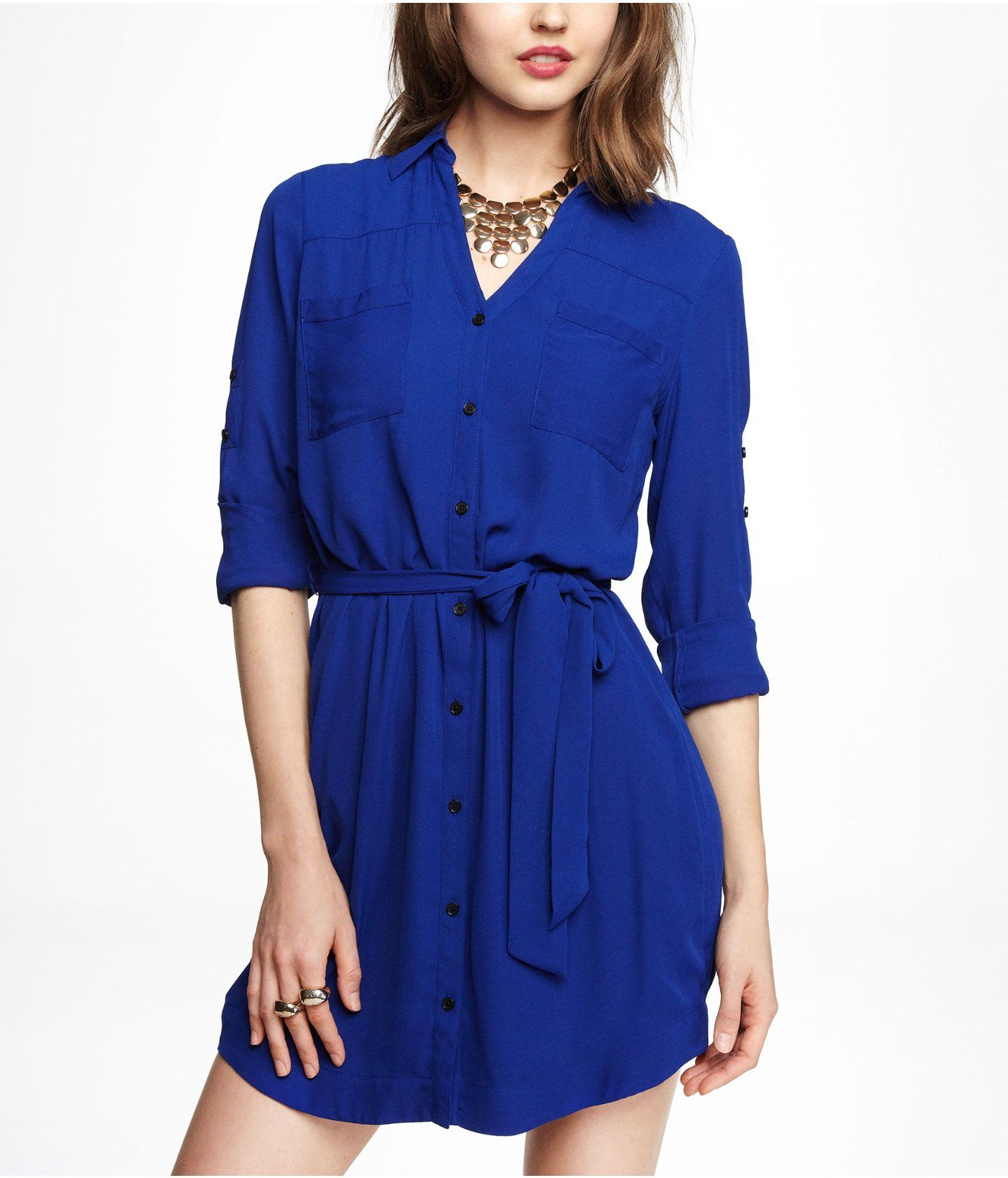 The dress express - The Portofino Shirt Dress In Fantasia Blue Express Dresses