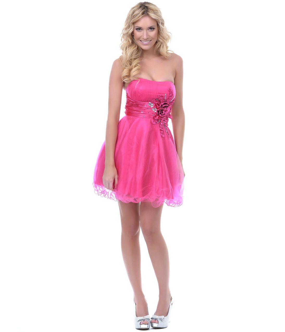 Fuchsia Tulle & Satin Empire Waist Short Prom Dress - Unique Vintage ...