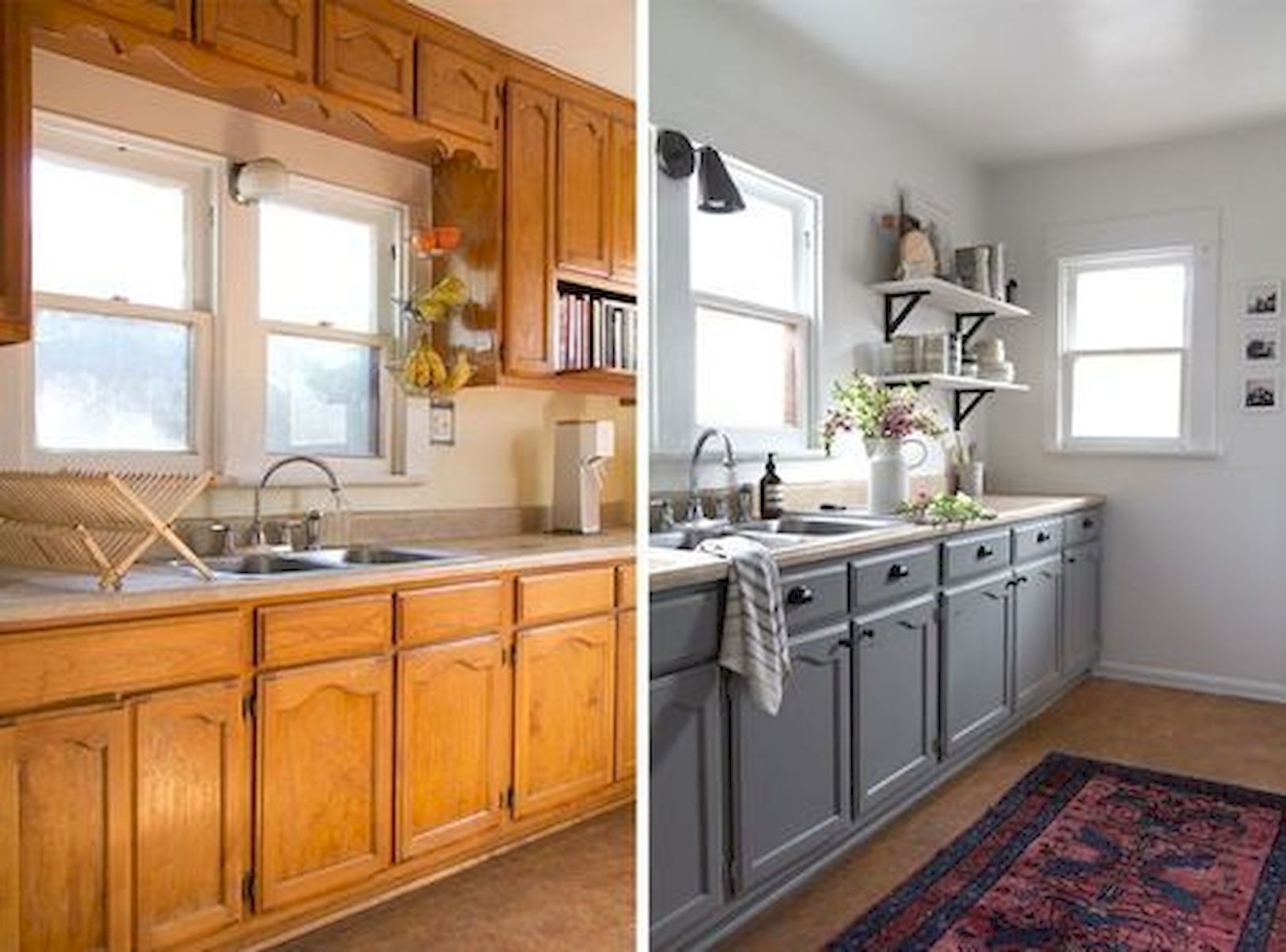 Before After Painted Kitchen Cabinet Idea Home Design Kitchen Diy Makeover Upcycle Kitchen Kitchen Renovation