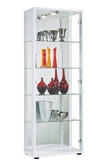 Glasvitrine Sammlervitrine Vitrine LED beleuchtet Schloß Spiegel - wohnzimmer vitrine weis