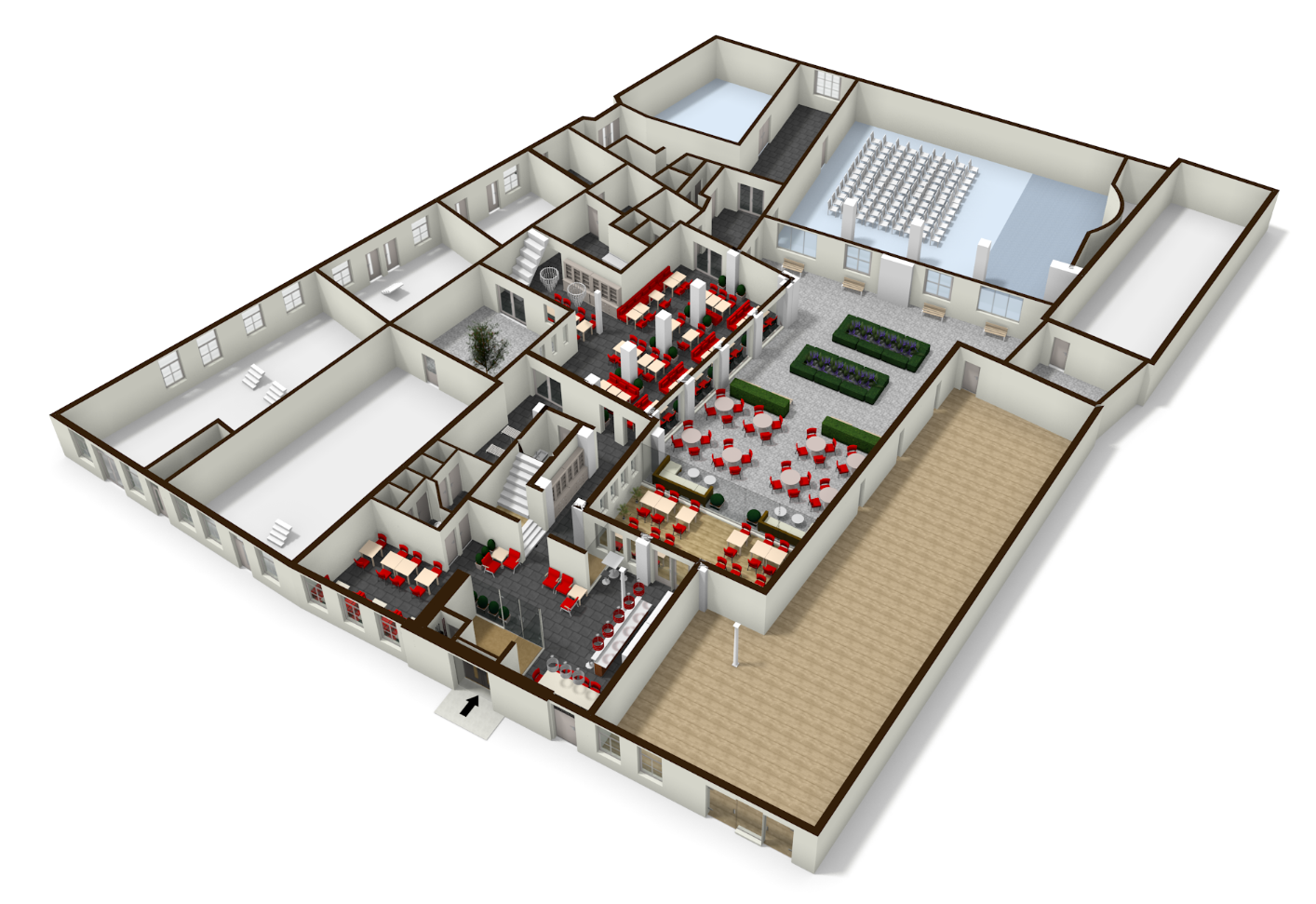 Well Drawn Plan Of A Funeral Home Interior Architecture Floor