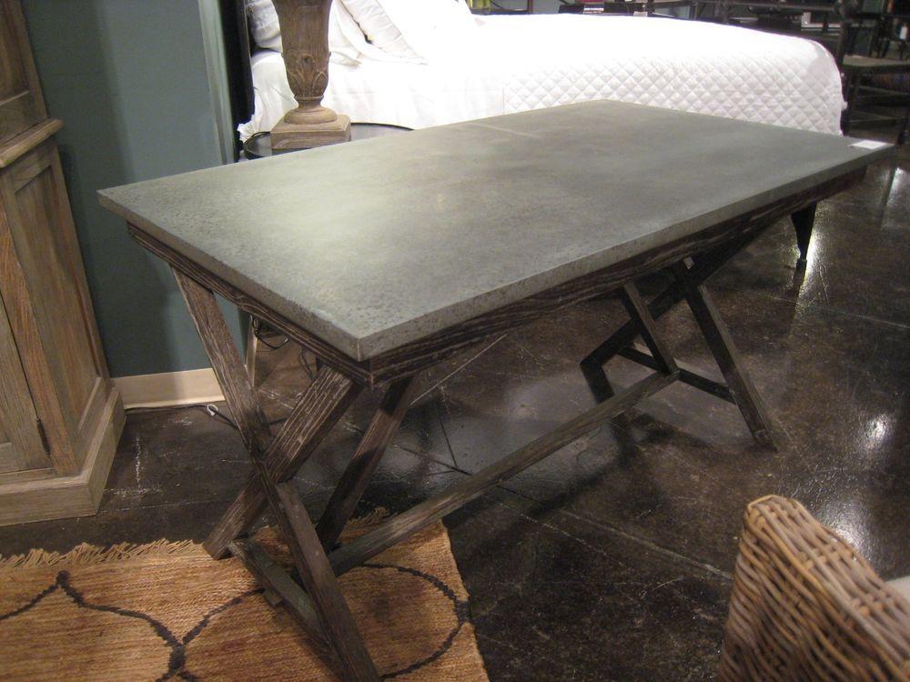 Restoration Style ZINC Top Desk Table With Reclaimed Wood Base  #RestorationHardware