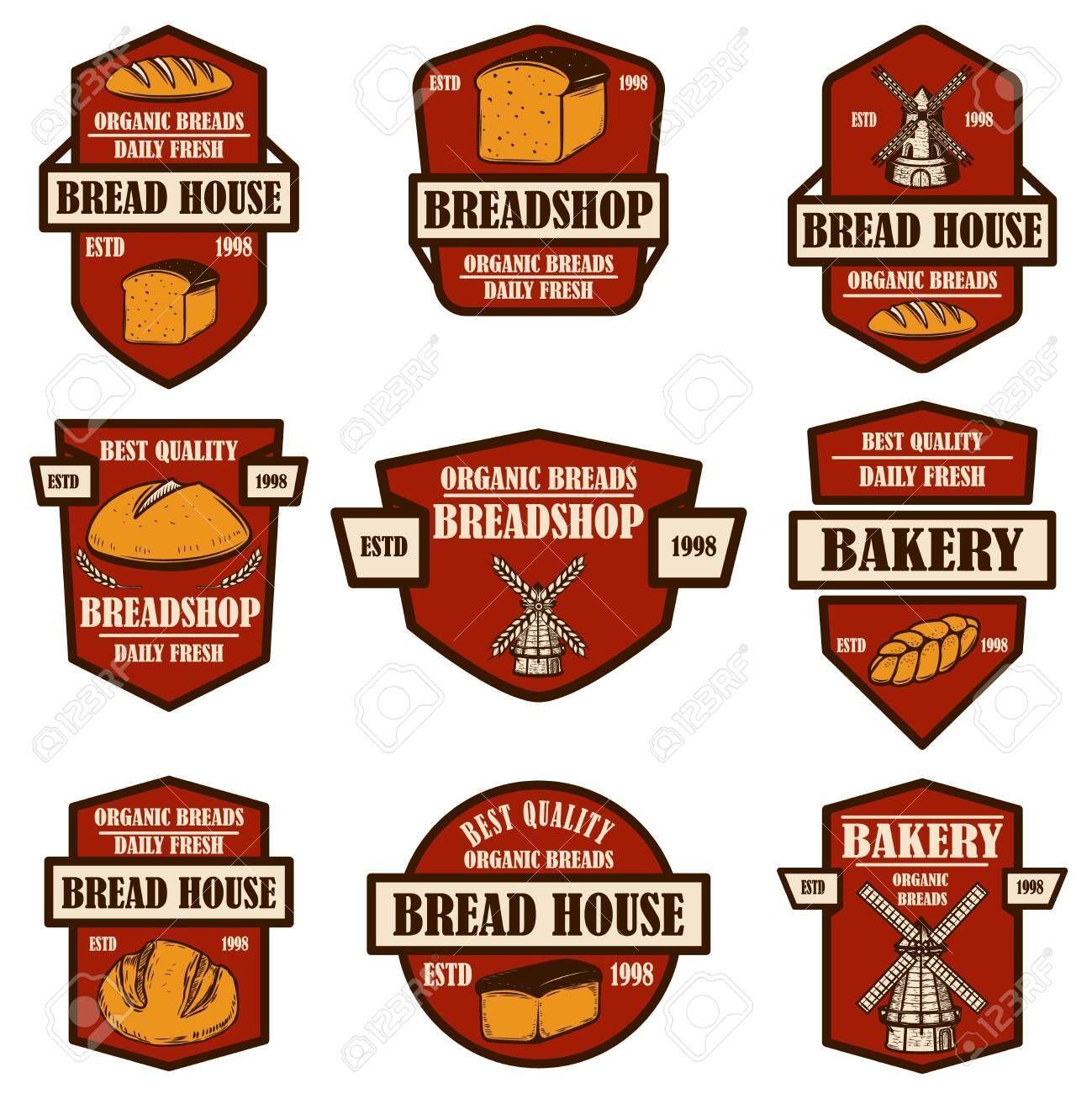 of bakery bread shop emblems Design element for logo label sign banner poster Vector illustration Set of bakery bread shop emblems Design element for logo label sign bann...