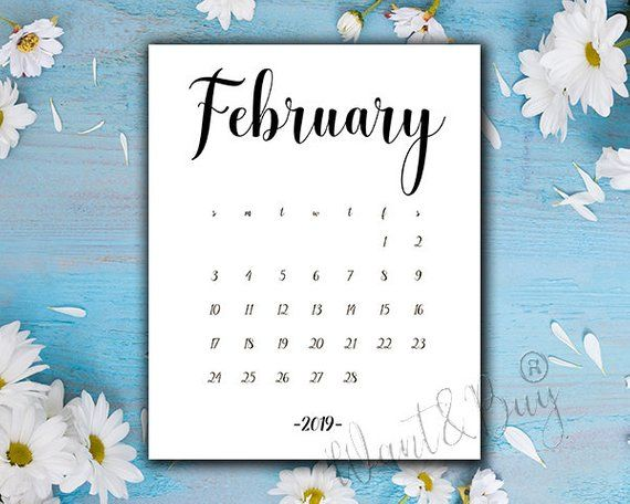 5x7 February 2019 Calendar FEBRUARY 2019| LIMITED TIME! Instant Download,Digital file