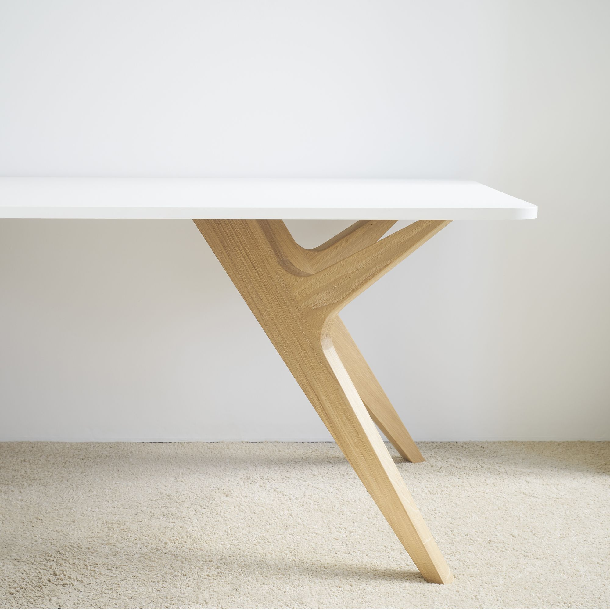 Table Bois Blanc Design Chene Made France Scandinave Audrey Savelon Table Bois Table Blanche Et Bois Pied Table Bois