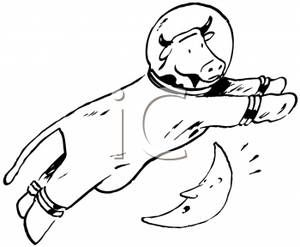 Clip Art Image Black And White Cow In A Space Suit Jumping Over A