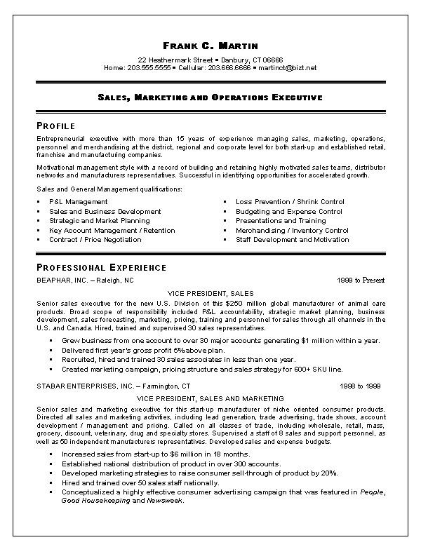 Resume Format For 5 Years Experience In Marketing Sales