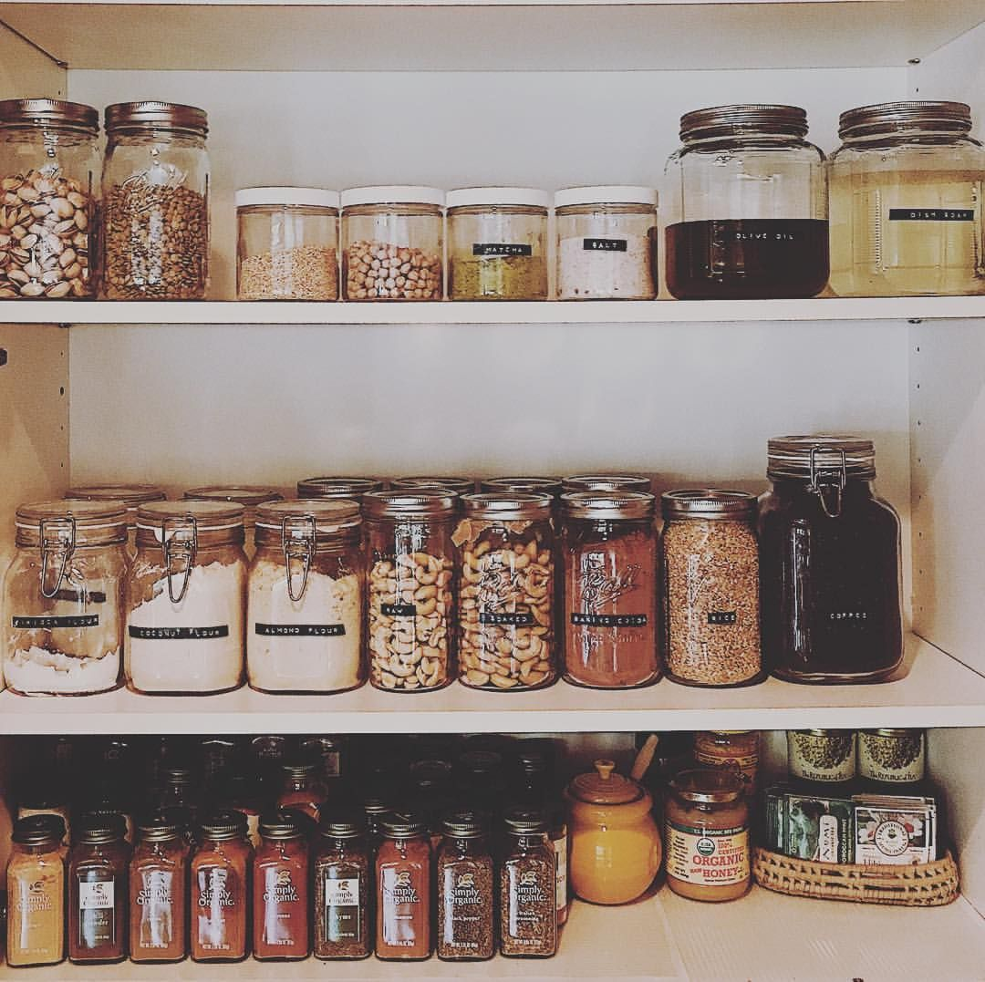 Three days ago, on whim, I decided to try going zero-waste. Here's a little peep at my family's bulk dry kitchen, which isn't perfect, but it's getting there. Oh, so much I didn't see just a week ago before setting an intention. #zerowastehome
