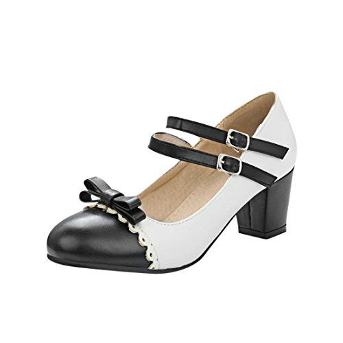 8a4981e53455a Agodor Women's Mid Chunky Heel Mary Janes Pumps With Stra ...