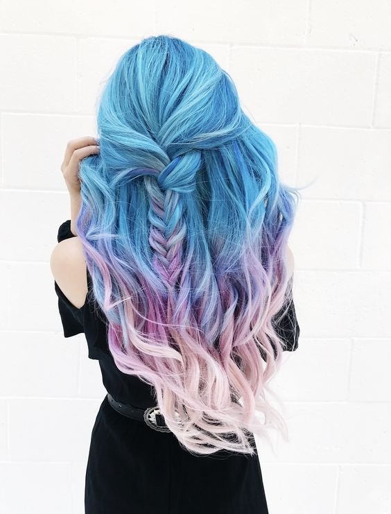 Long Curly Hairstyles Pastel Ombre Light Blue Lavender Lilac Cotton Candy Pink Half Up Half Down Blue And Pink Hair Hair Styles Hair Color Pastel
