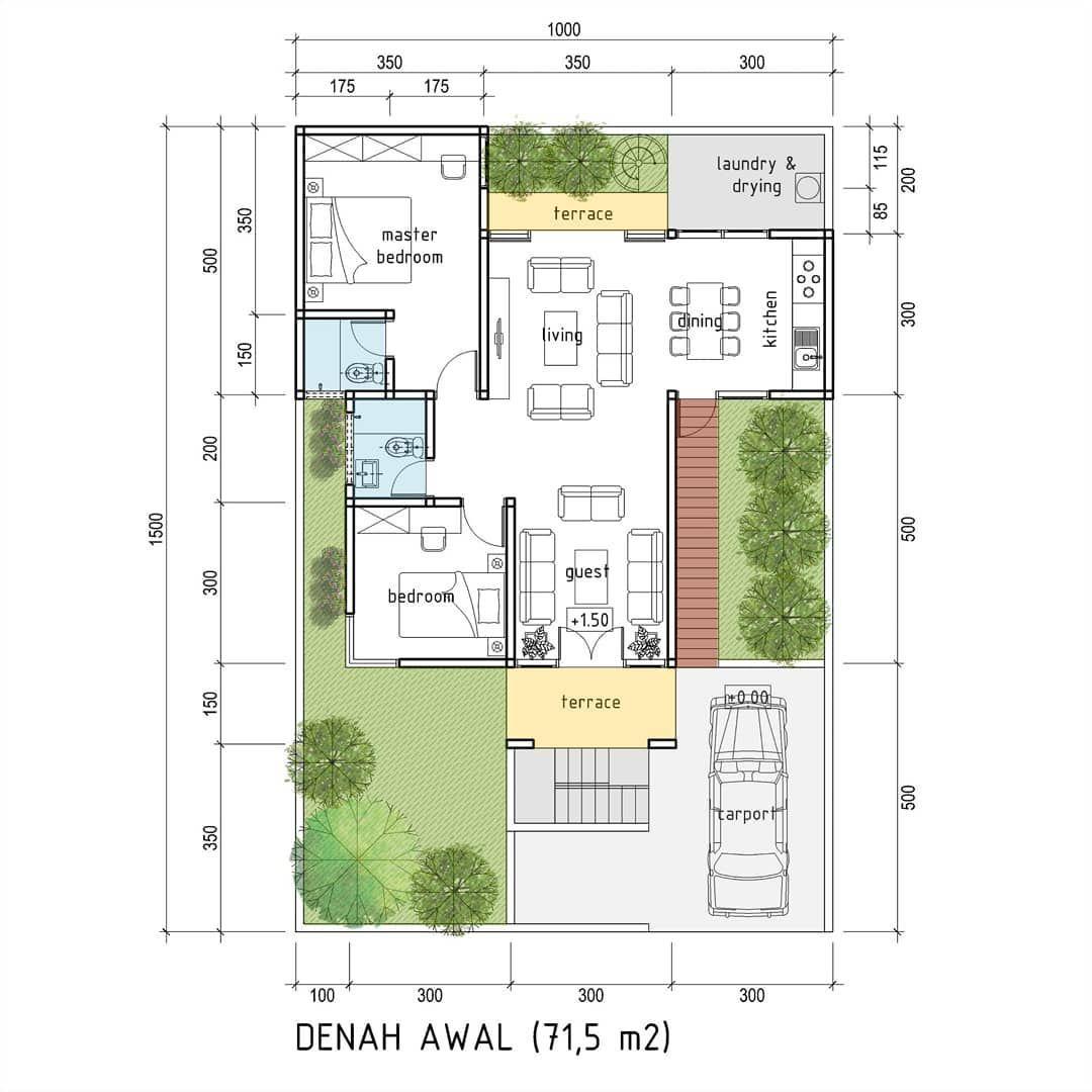 Rumah Tumbuh Di Lahan 10x15m Elevasi Tanah 1 5 M Di Atas Jalan Good Design For Everyone With Affordable Price Rumah Denah Rumah Denah Desain Rumah