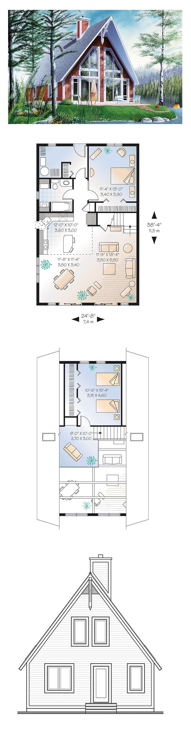 A Frame House Plan 65010 | Total Living Area: 1304 Sq. Ft., 2 Bedrooms And  1 Bathroom. Ceilings With Timber Details Greet You In This Two Bedroom  Chalet ...
