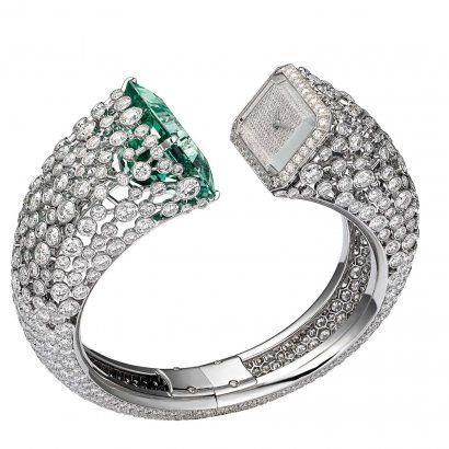 cartier-les heures fabuleuses-green beryl and diamonds watch