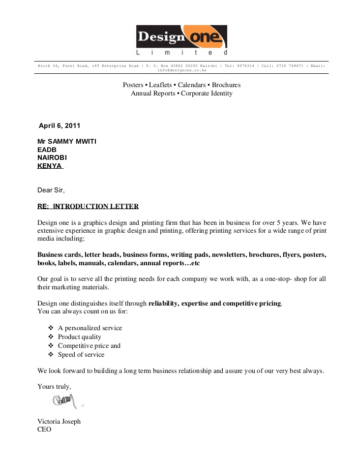 Company Introduction Letter Sample