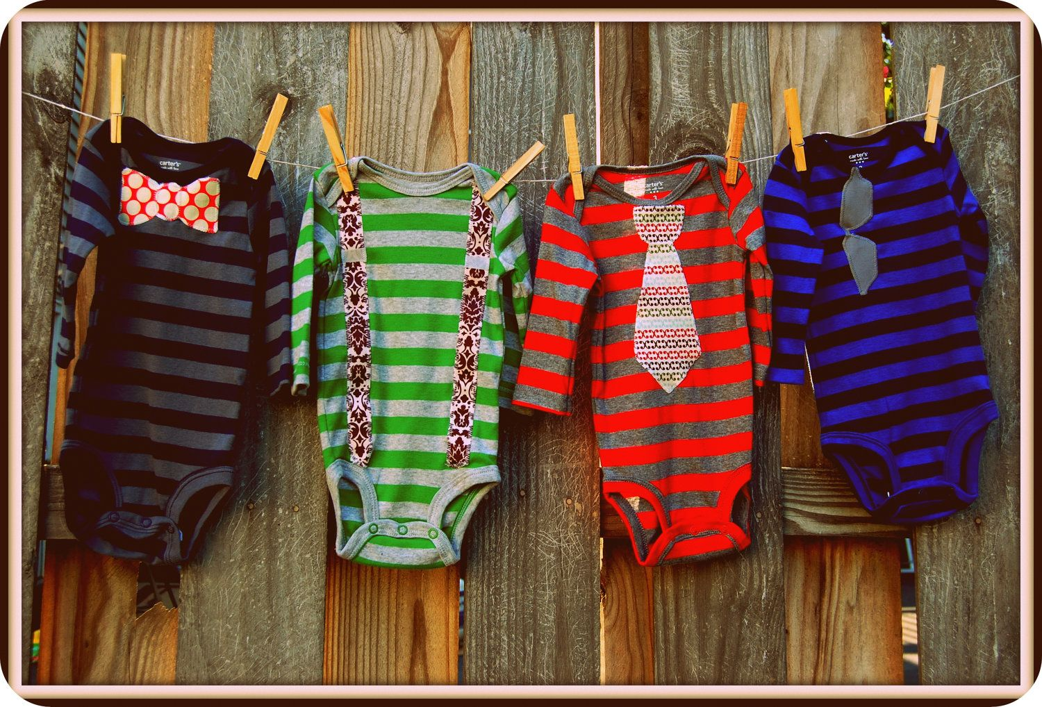"Swanky Baby Boy Onesie Gift Set ""The Oliver Set"" (4 long sleeved onesies)"
