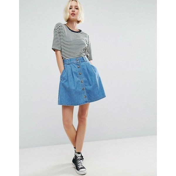 f2ff72f07 ASOS Denim Button Front Mini Skater Skirt In Mid Wash Blue ($37) ❤ liked on  Polyvore featuring skirts, mini skirts, blue, short denim skirts, high  waisted ...
