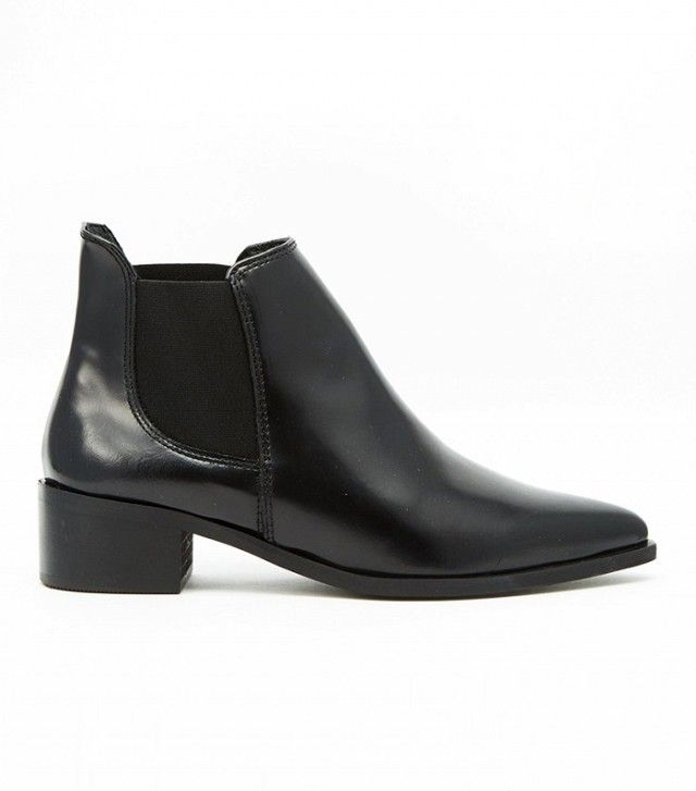 Warehouse Flat Leather Ankle Boot