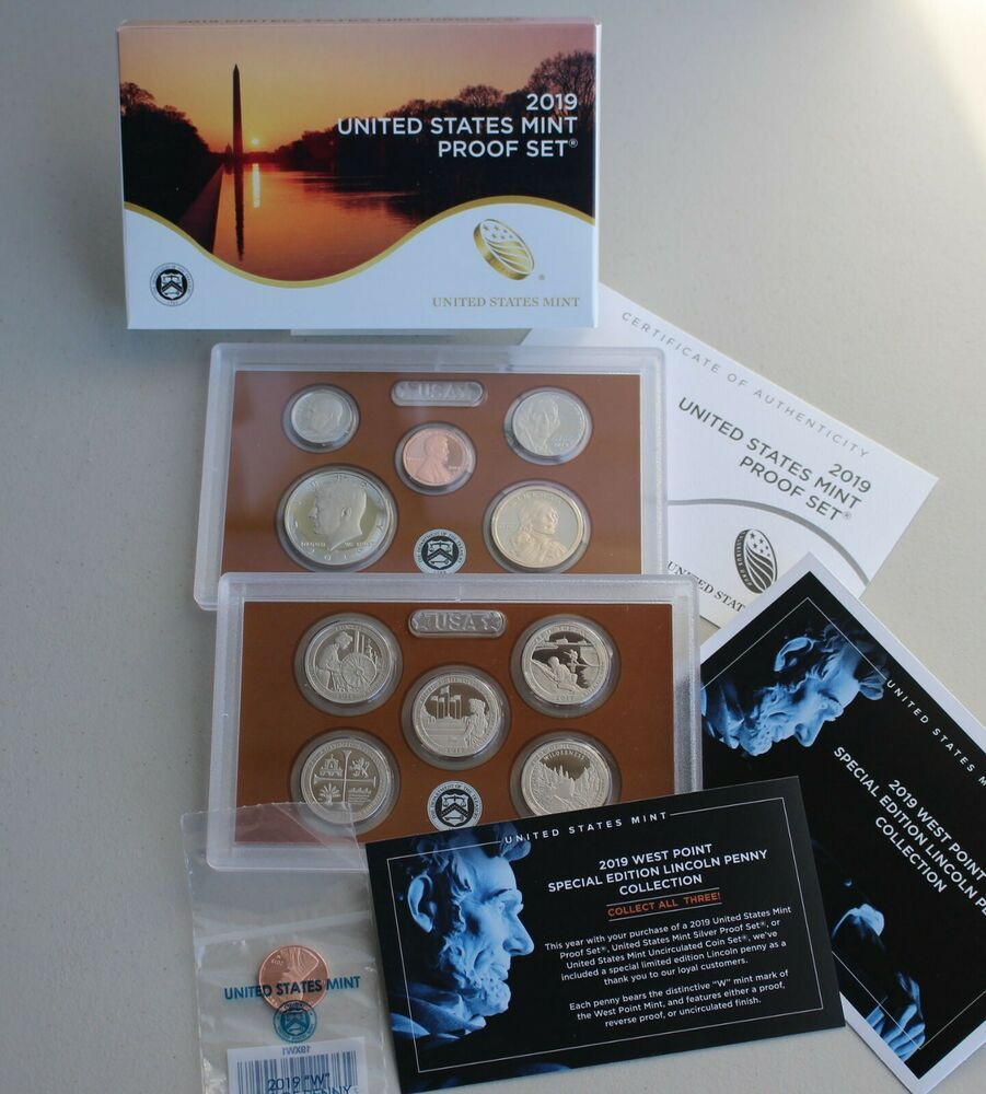 Silver 2019 S US Mint 11 Coin Proof Set with Westpoint Penny Original Box COA