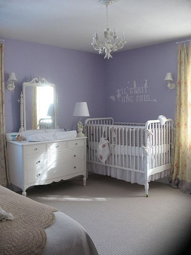 Nursery Of Lavender And White In Master Bedroom
