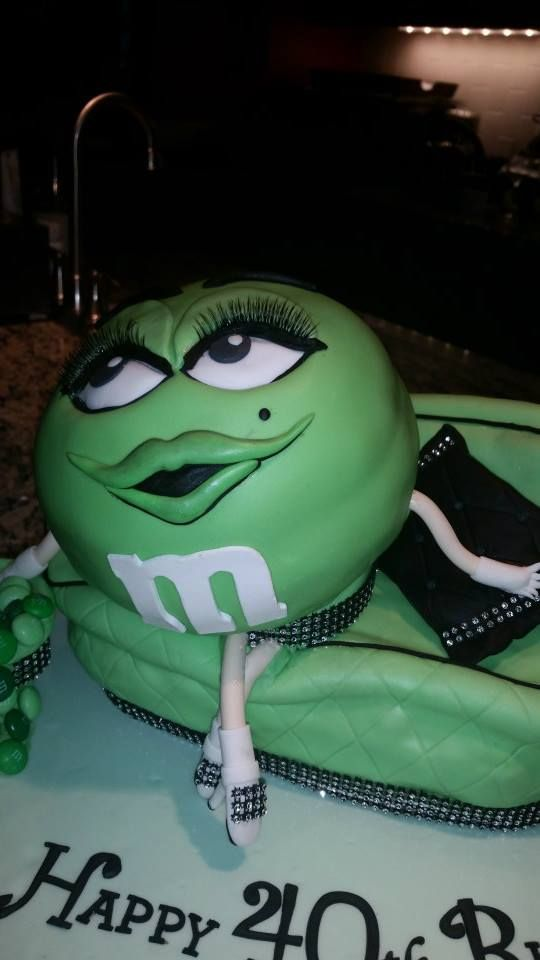 40th birthday green mm cake Cakes I Made Pinterest 40
