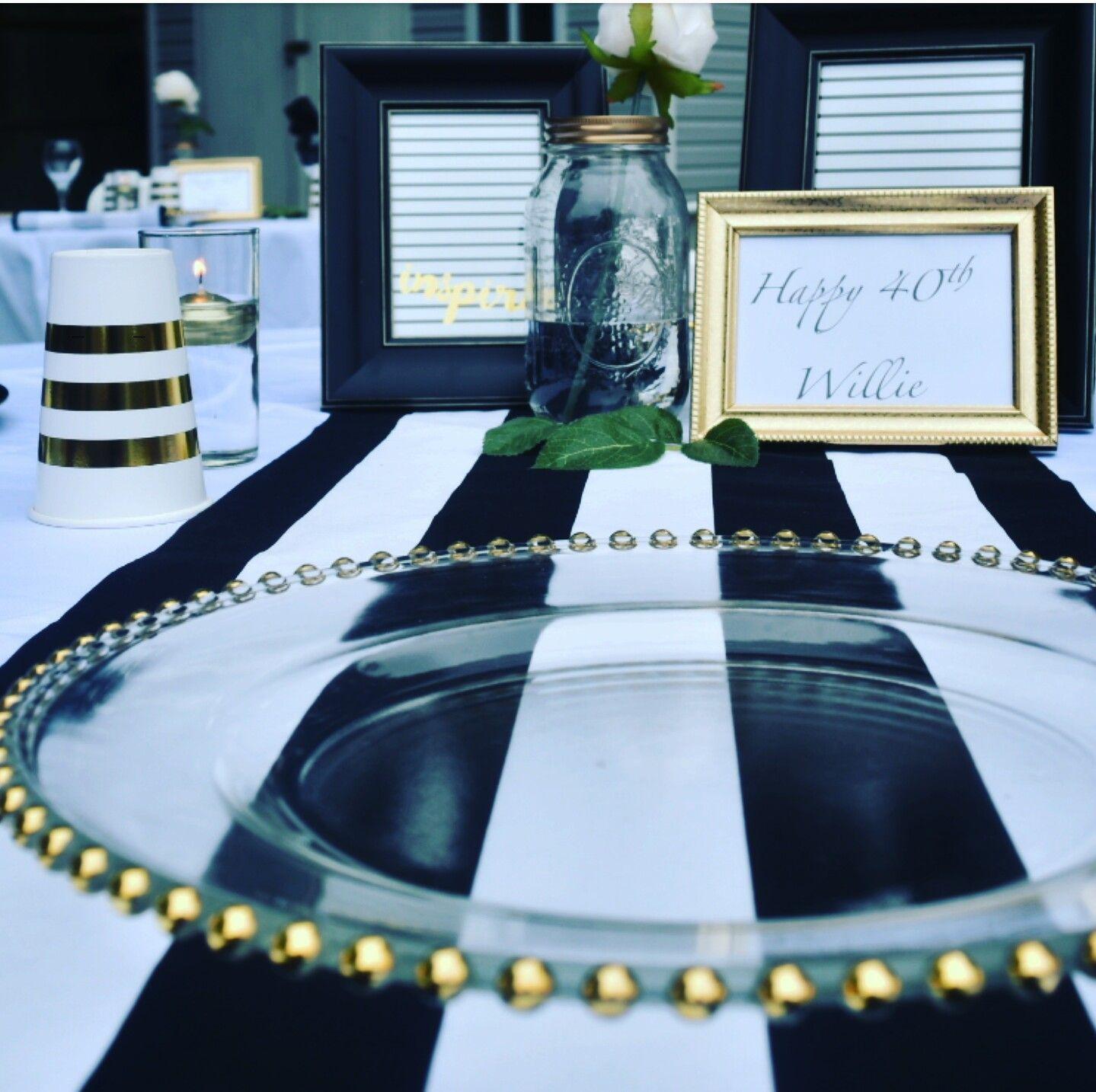 Elegant Backyard Party Decor White Black And Gold Backyard