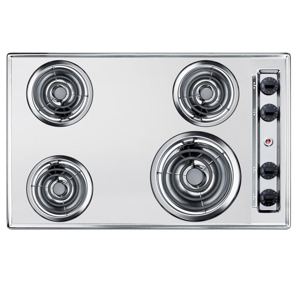 Summit Appliance 30 In Coil Top Electric Cooktop In Chrome With 4 Elements Grey Electric Cooktop White Porcelain Chrome
